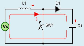 DC to DC Boost Converter Continuous Conduction Mode Circuit