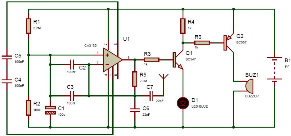 Circuit of Cell Phone Detector Using Breadboard