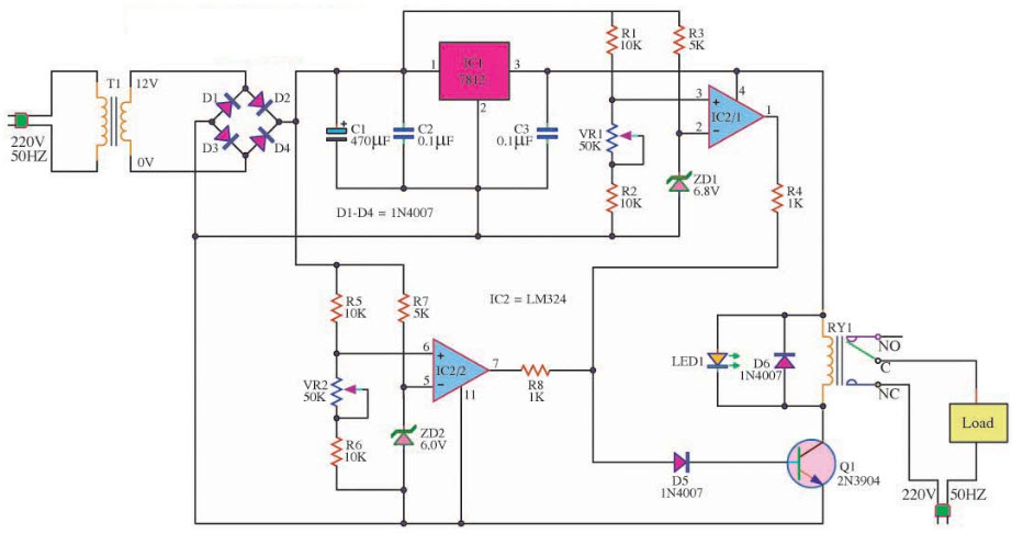 Circuit Diagram Operation Over Voltage and Under Voltage Circuit Using Comparator