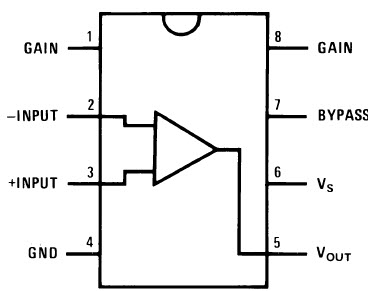 IC LM386 Audio Amplifier Pin Diagram
